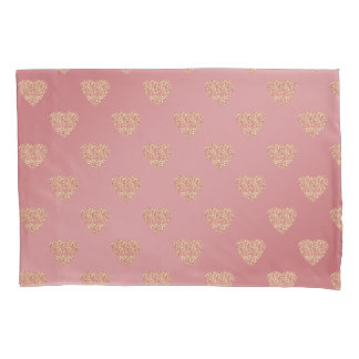 rose gold glitter love hearts polka dots pattern pillowcase