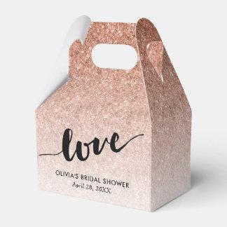 Rose Gold Glitter Love in Script Custom Favor Box