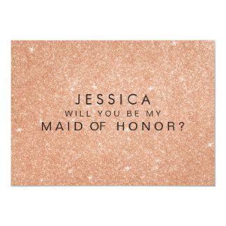 """Rose Gold Glitter Maid of Honor Request Cards 5"""" X 7"""" Invitation Card"""