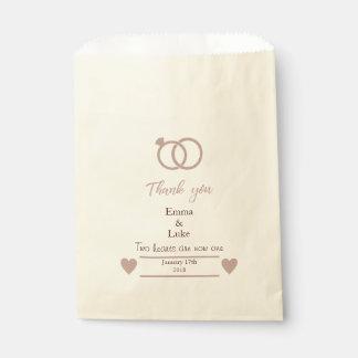 Rose Gold Glitter Modern Wedding Favour Bag