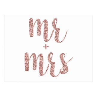 Rose gold glitter Mr. & Mrs. postcards