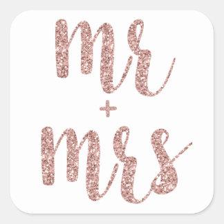 Rose gold glitter Mr. & Mrs. stickers