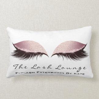 Rose Gold Glitter Name Makeup Lashes Beauty Lumbar Pillow