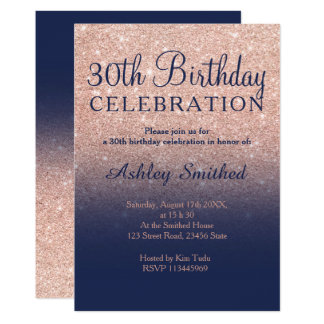 Rose gold glitter navy blue ombre 30th birthday card