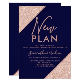 Rose gold glitter navy blue wedding new plan invitation
