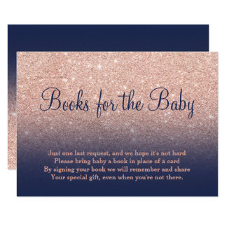 Rose gold glitter navy bring a book baby shower card