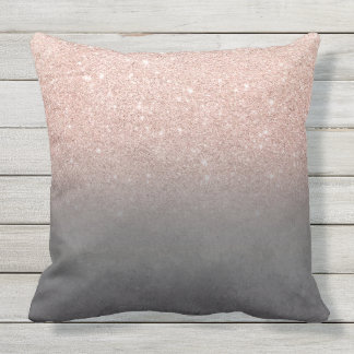 Rose gold glitter ombre grey cement concrete throw pillow