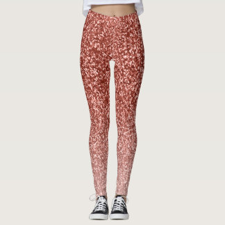 Rose Gold Glitter Ombre Pink Look Yoga Pants