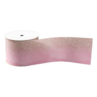 Rose gold glitter ombre pink pastel watercolor grosgrain ribbon