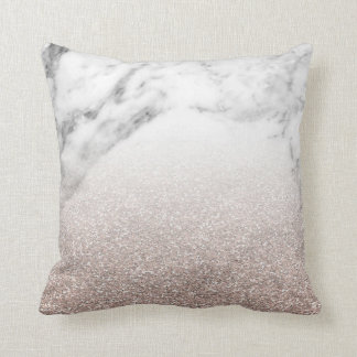 Rose gold glitter on marble throw pillow