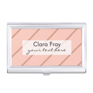rose gold glitter pastel peach stripes pattern business card holder
