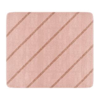 rose gold glitter pastel peach stripes pattern cutting board