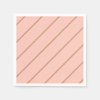 rose gold glitter pastel peach stripes pattern disposable napkins