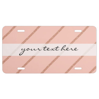 rose gold glitter pastel peach stripes pattern license plate