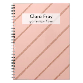 rose gold glitter pastel peach stripes pattern notebooks