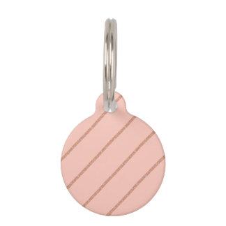 rose gold glitter pastel peach stripes pattern pet ID tag