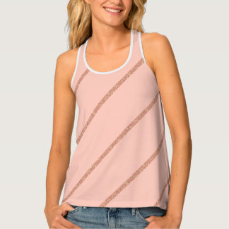 rose gold glitter pastel peach stripes pattern tank top