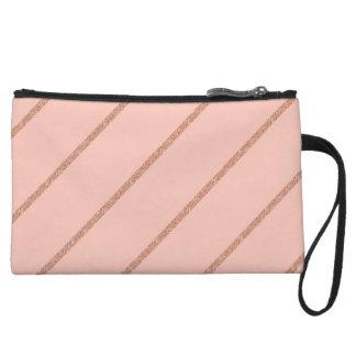 rose gold glitter pastel peach stripes pattern wristlet