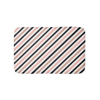 rose gold glitter pastel pink stripes pattern bath mat