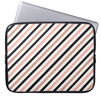 rose gold glitter pastel pink stripes pattern computer sleeve