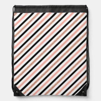 rose gold glitter pastel pink stripes pattern drawstring bag