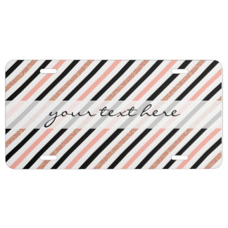 rose gold glitter pastel pink stripes pattern license plate