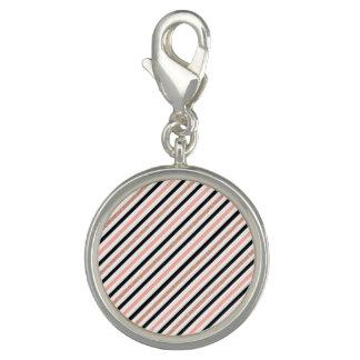 rose gold glitter pastel pink stripes pattern photo charms