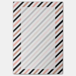 rose gold glitter pastel pink stripes pattern post-it notes