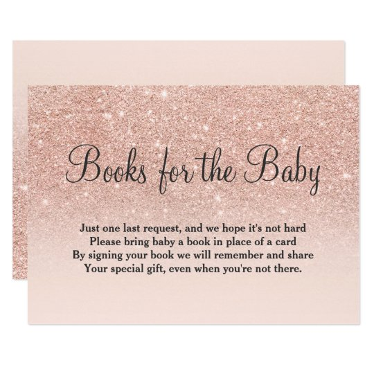 Rose gold glitter pink bring a book baby shower card
