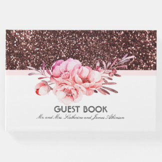 Rose Gold Glitter Pink Floral Bouquet Wedding Guest Book
