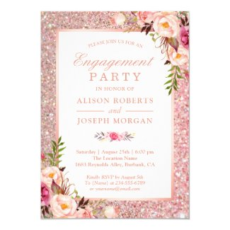 Rose Gold Glitter Pink Floral Engagement Party Card