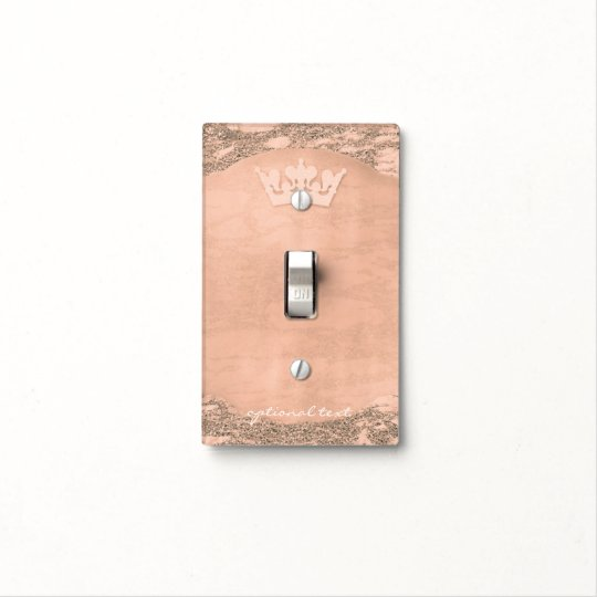 Rose Gold Glitter Pink Princess Crown Royal Custom Light Switch Cover