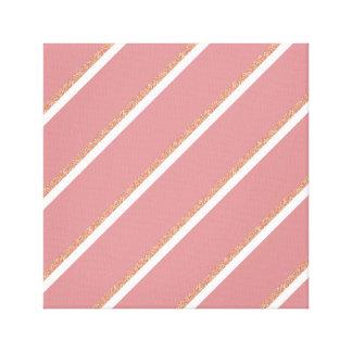 rose gold glitter pink stripes pattern canvas print
