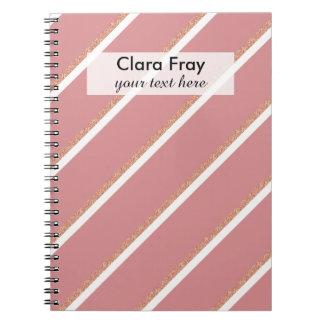rose gold glitter pink stripes pattern note book