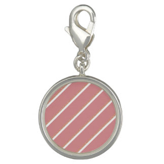 rose gold glitter pink stripes pattern photo charms