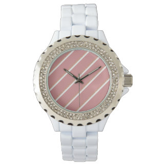 rose gold glitter pink stripes pattern watch