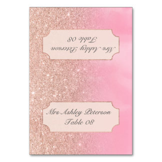 Rose gold glitter pink watercolor wedding place card
