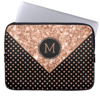 Rose-Gold Glitter & Polka Dots Geometric Design Laptop Sleeves