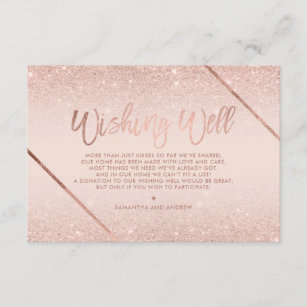 Rose gold glitter script blush pink wishing well enclosure card