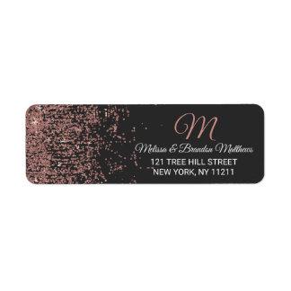 Rose Gold Glitter Sparkles Black Address