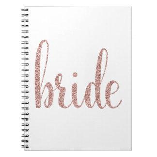 Rose gold glitter spiral notebook