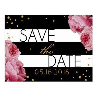 Rose Gold Glitter Stripe Modern Save the Date Postcard