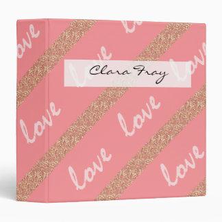 rose gold glitter stripes love typography pattern binder