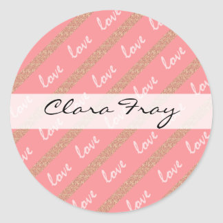 rose gold glitter stripes love typography pattern classic round sticker