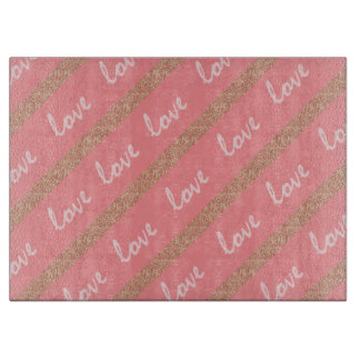 rose gold glitter stripes love typography pattern cutting board