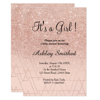 Rose gold glitter triangles pink girl baby shower card