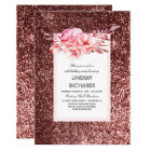 Rose Gold Glitter Vintage Floral Birthday Party Card