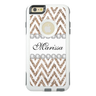 Rose Gold Glitter White Chevron Stripe Pattern OtterBox iPhone 6/6s Plus Case