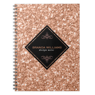 Rose Gold Glitter With Black Accent Spiral Note Book