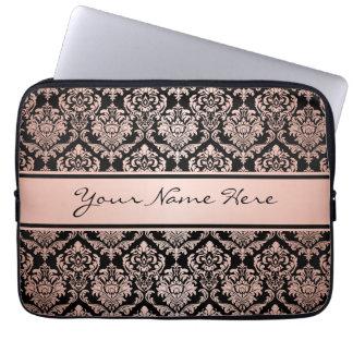 Rose Gold Gradient   Damask Pattern on Black Laptop Sleeve
